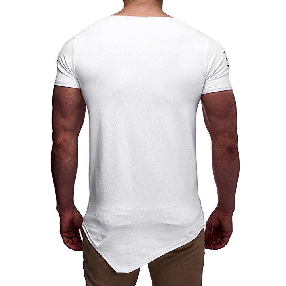 Cebbay Camiseta para Hombre Agujero Roto Cuello Redondo sin  especificaciones Lateral Manga Corta Ropa de Deporte Camisa Traje Casual  para Correr  Amazon.es  ... dcb011ca8284a