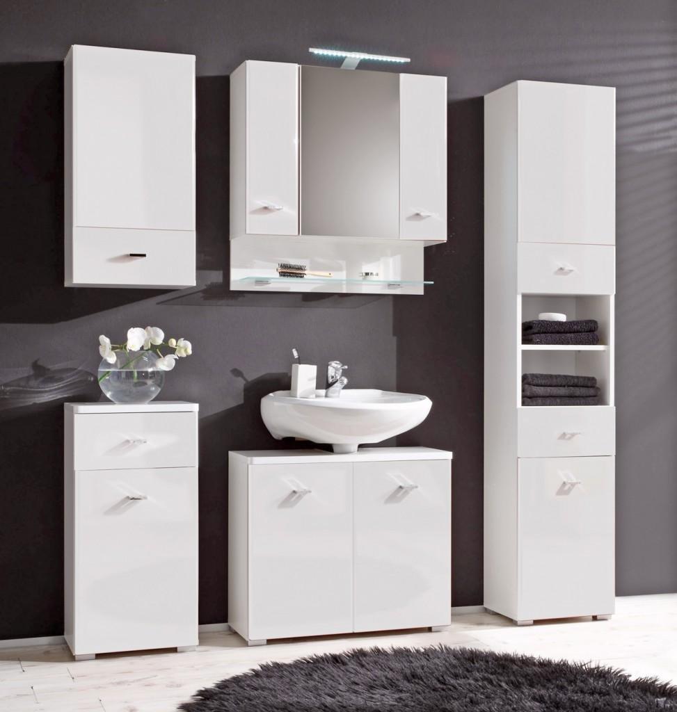 Badmöbel weiss stehend  Badezimmer BAROLO 5-tlg. Badmöbel Komplett-Set, Dekor weiß: Amazon ...
