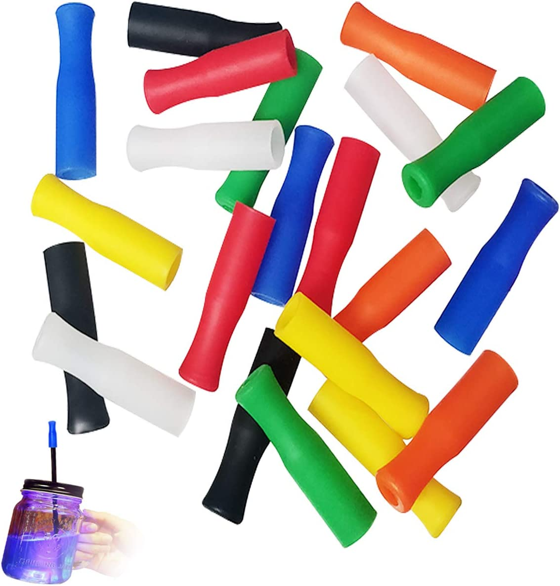 Silicone Straw Tips,21Pcs Reusable Straws Tips,Set of Multi-colored Anti-burn Food Grade Safety Straw Tips, for 6mm Wide Stainless Steel Straws,7 Colors