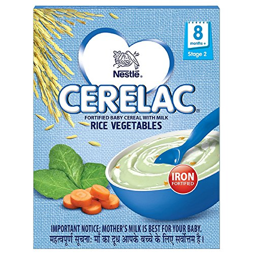 (Nestlé Cerelac Fortified Baby Cereal with Milk – 8 Months+, Stage 2, Rice Vegetables, 300g)