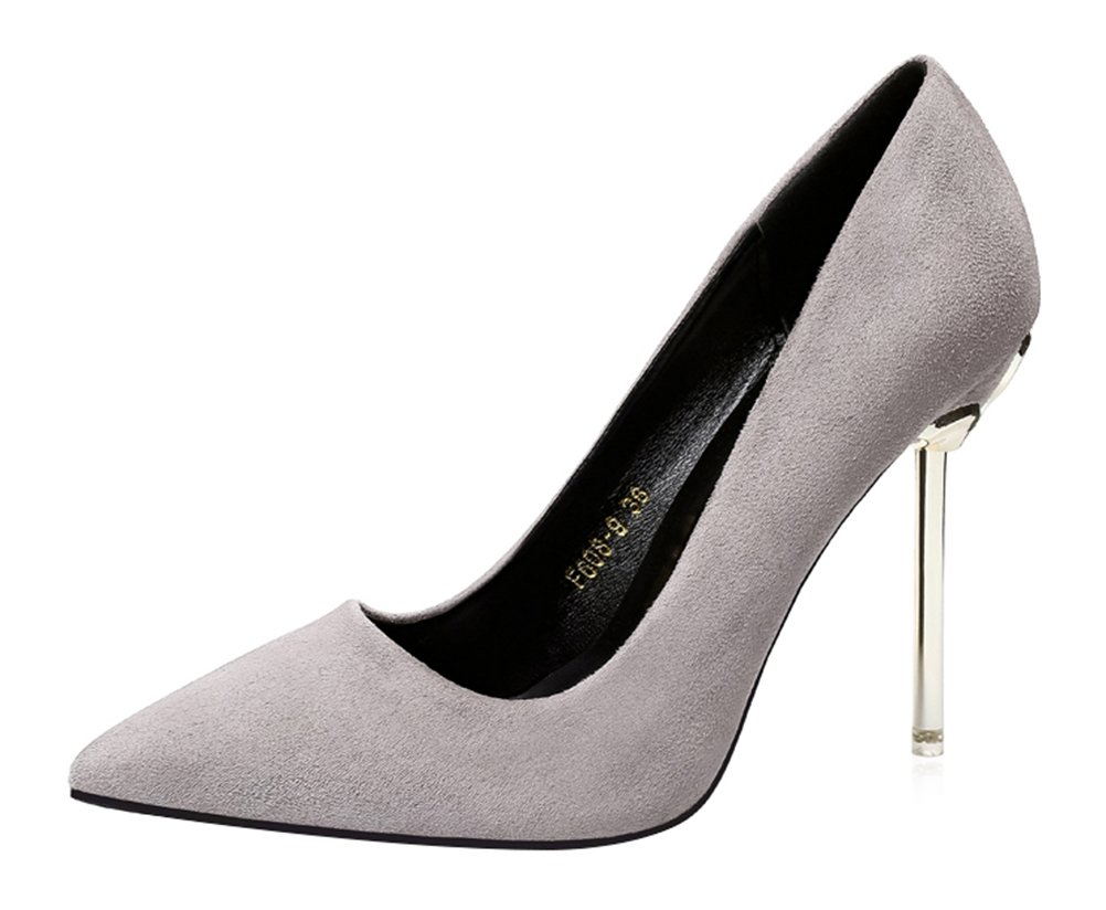 T&Mates Womens Classic Versatile Pointed Toe Slip On Pumps Stiletto Evening Work Dress High Heels (5.5 B(M) US,Gray) by T&Mates