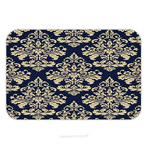 Flannel Microfiber Non-slip Rubber Backing Soft Absorbent Doormat Mat Rug Carpet Floral Pattern Wallpaper Baroque Damask Seamless Vector Background Gold And Blue Ornament 522835621 for (Baroque Lounge Collection)