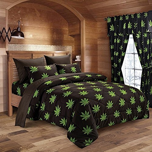 Pot Leaf Print Microfiber Sheet Set (Black, Full) by Regal Comfort