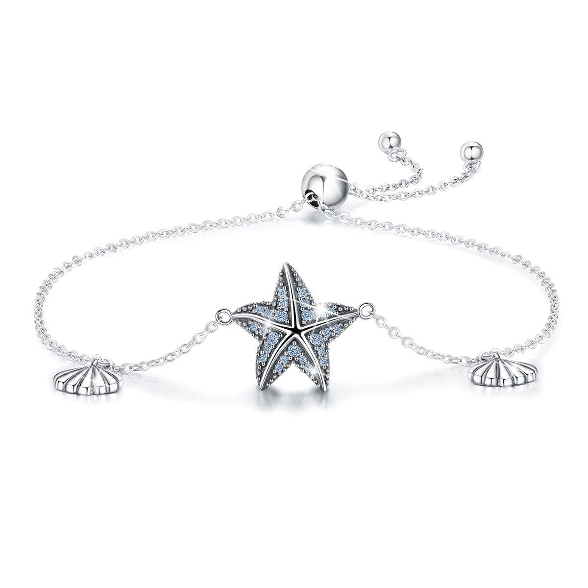 Bamoer Adjustable Sterling Silver Sea Shell Starfish CZ Bracelet