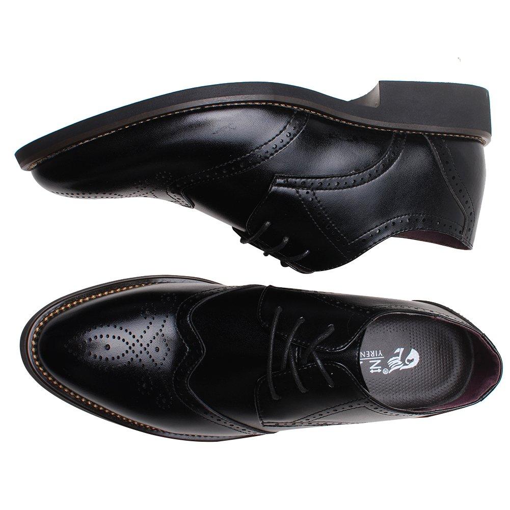 Rismart British Style Hombre Fashion Fashion Fashion Pointed-Toe Zapatos Brogue Dress Leather Zapatos Negro 856 US7.5 21b16a