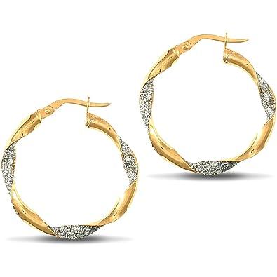 252685ec3 Jewelco London Ladies 9ct Yellow and White Gold Crushed Ice Glitter Twist  3mm Hoop Earrings 25mm: Amazon.co.uk: Jewellery