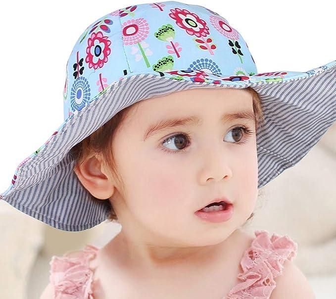 Lukis Bob Chapeau Anti-UV B/éb/é Fille Gar/çon Coton Imprim/é Fleur Pliable Chapeau P/êcheur Enfant Solaire Plage Voyage /Ét/é Outdoor