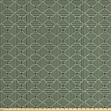 quilt sqaure - Ambesonne Geometric Fabric by the Yard, Horizontal and Vertical Lines Sqaures Checked Pattern, Decorative Fabric for Upholstery and Home Accents, Forest Green Reseda Green and White
