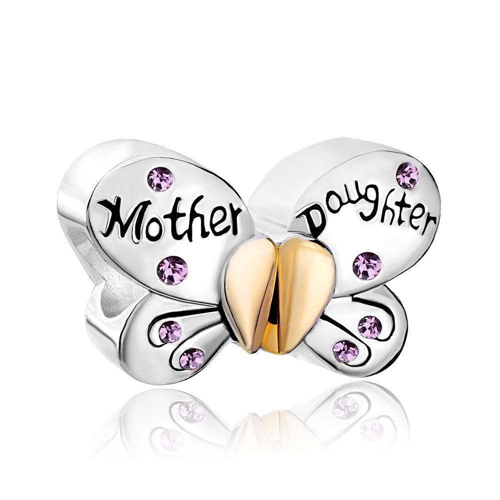 925 Silver June Mother Daughter Butterfly Bead Fits Charm Bracelet