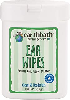 product image for Earthbath Pet Ear Wipes - Cleans & Deodorizes, Aloe Vera, Vitamin E, Witch Hazel, Good for Dogs, Cats, Puppies, Kittens - Keep Your Pet's Ears Naturally Clear and Infection Free - 25 Count