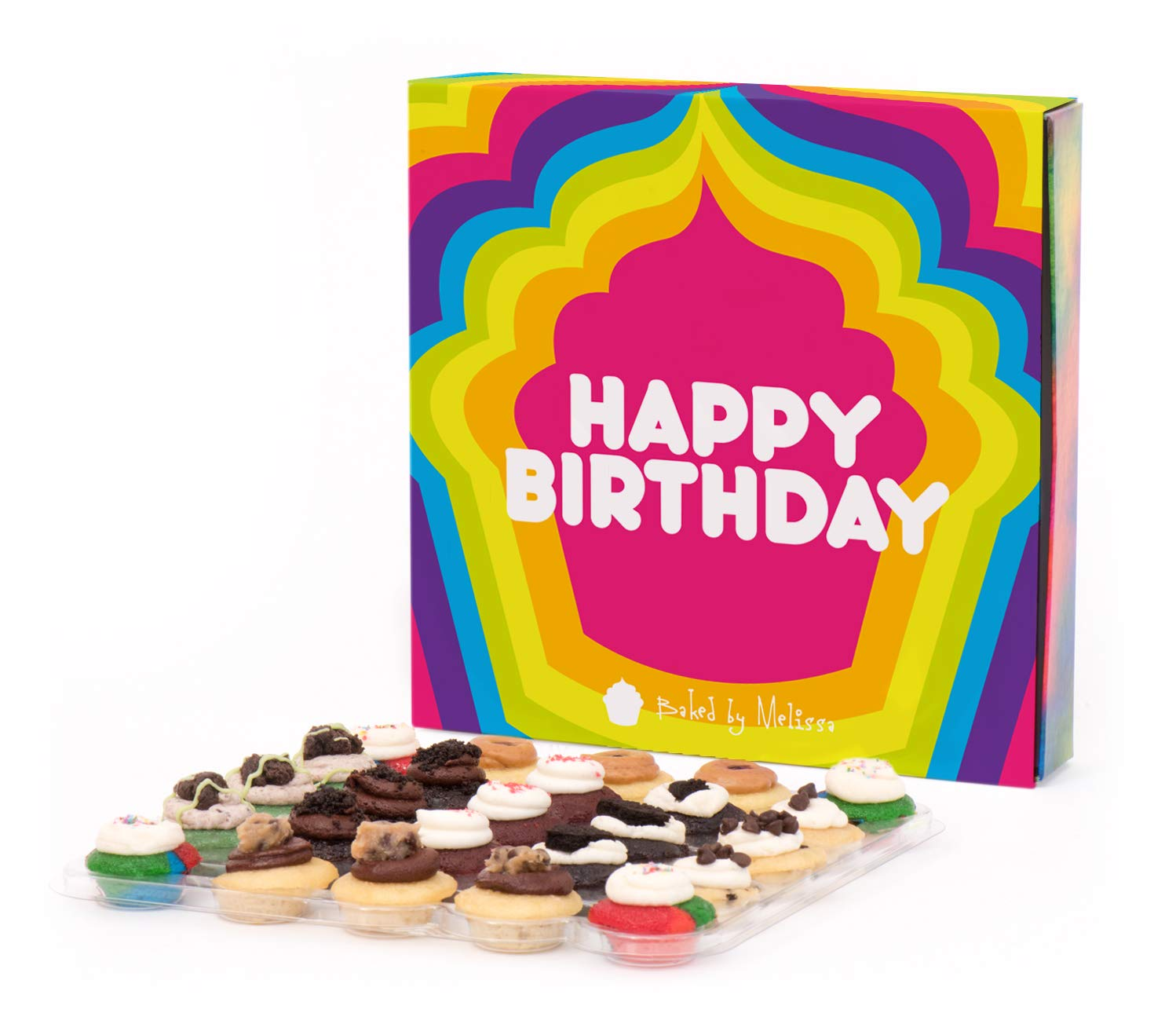 Baked by Melissa Happy Birthday 25 Assorted Bite-Size Cupcakes Gift Box (The O.M.G.F. (Gluten-Free)) by Baked by Melissa