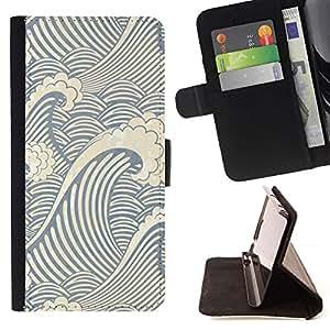 Momo Phone Case / Flip Funda de Cuero Case Cover - Patrón de la onda del remolino;;;;;;;; - Samsung Galaxy S5 Mini, SM-G800