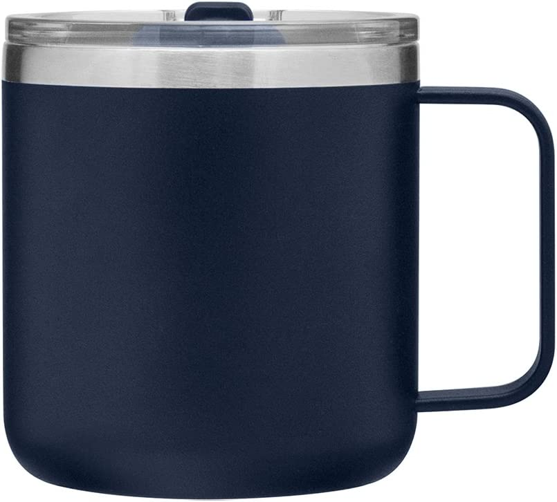 Hot or Cold - 12 oz. Double Wall Stainless Steel, Copper Vacuum Insulated Camp Travel Mug with Lid - Matte Blue