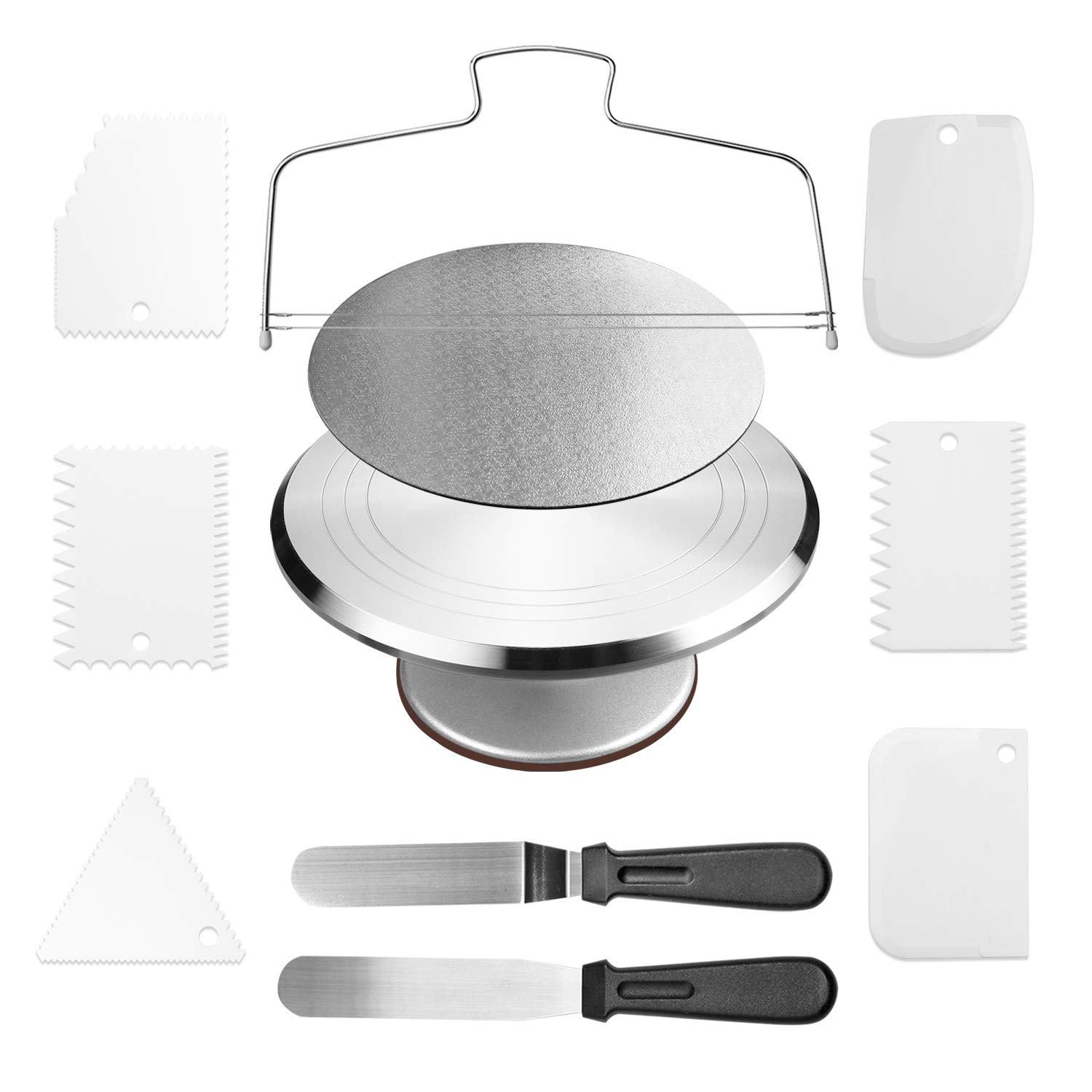 Cake Stand,Aluminium Revolving Cake Turntable 12'' Rotating Cake Decorating Stand with 2 Angled Icing Spatulas and 6 Comb Icing Smoother, Cake leveler,Cake Board