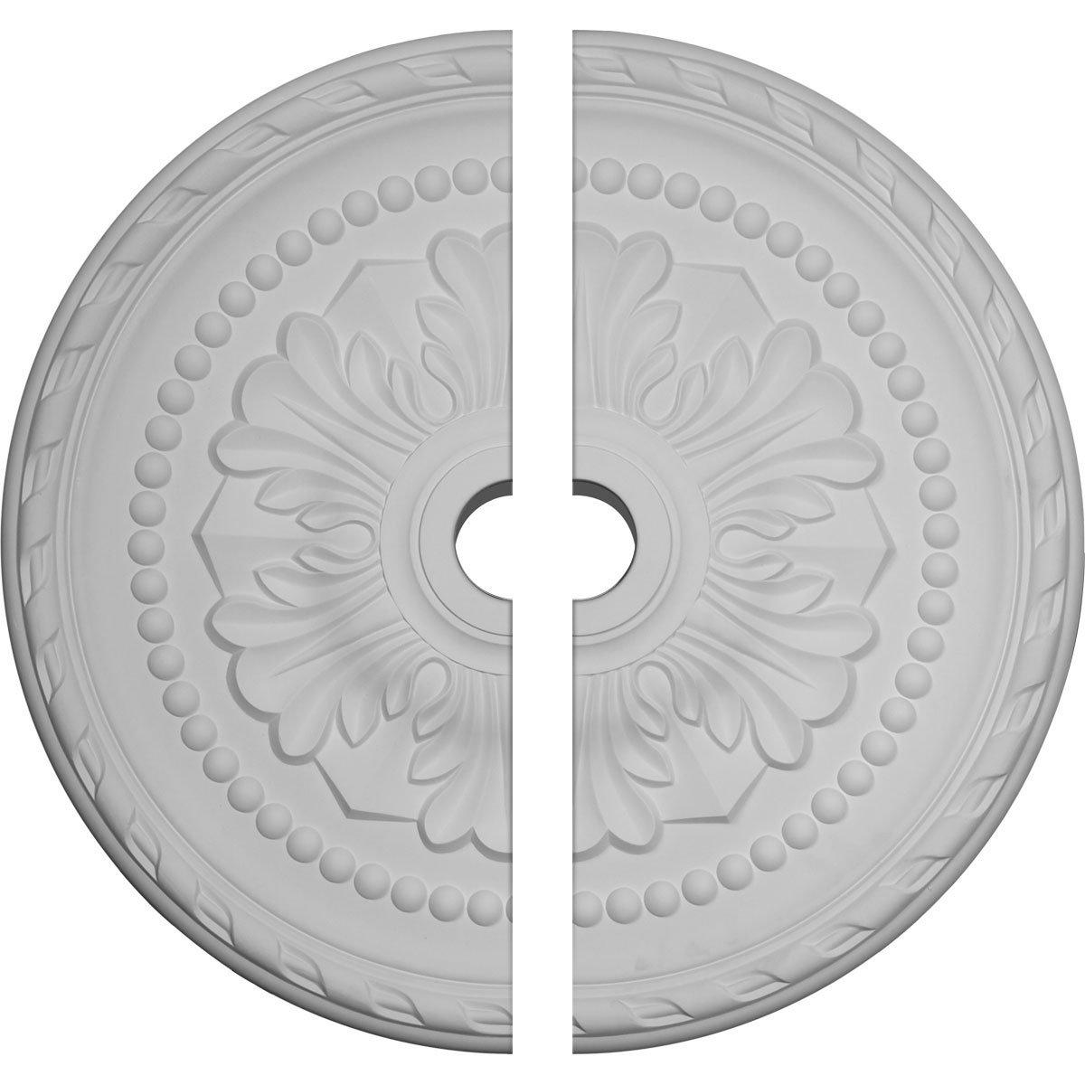 Ekena Millwork CM31PM2 31 1/2''OD x 3 5/8''ID x 1 3/4''P Palmetto Ceiling Medallion, Fits Canopies up to 7-5/8'', 2 Piece