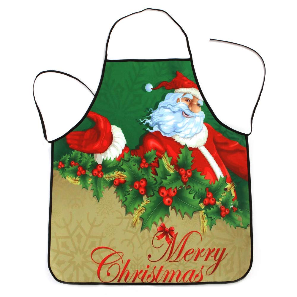 BCDshop_Apron プロフェッショナル ビブエプロン クリスマス 汚れにくい 丈夫なエプロン キッチン グリル BBQ 工芸 ガーデニング ベーキング シェフギフト ストリング 調節可能 Size:70x80cm/27.55
