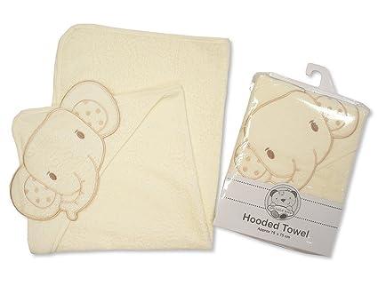 Bebé Toalla con capucha (Rizo de algodón suave con diseño de animales Campana Cream Elephant