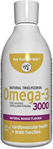 Best Omega 3 - Pure Fish Oil: Ultimate Strength Omega 3 Fish Oil Liquid: 3000 (Mango Flavor, 237ml/8oz Liquid) Highest EPA & DHA Essential Fatty Acids, Supports Heart, Brain, Joints and Immune System