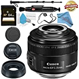 Canon EF-S 35mm f/2.8 Macro IS STM Lens 2220C002 + 64GB SDXC Card + Lens Pen Cleaner + Fibercloth + Lens Capkeeper + Deluxe 70 Monopod + Deluxe Cleaning Kit Bundle