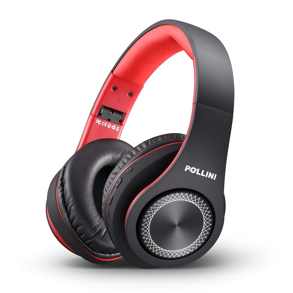 Bluetooth Headphones Over Ear, Pollini Wireless Headset V5.0 with Deep Bass, Soft Memory-Protein Earmuffs and Built-in Mic for iPhone/Android Cell Phone/PC/TV (Black-Red)
