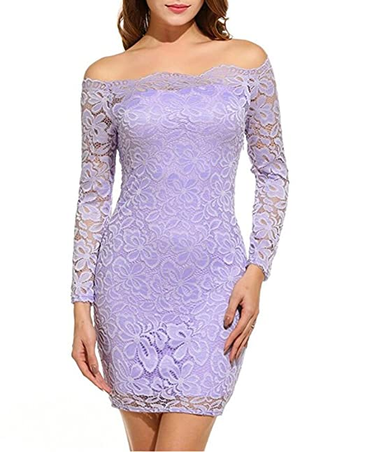e03744d73ebf Blazar Donne Vestiti Corti Cocktail Bodycon Mini Floreale Pizzo Maniche  Lunghe Abiti da Sera Matrimonio Party