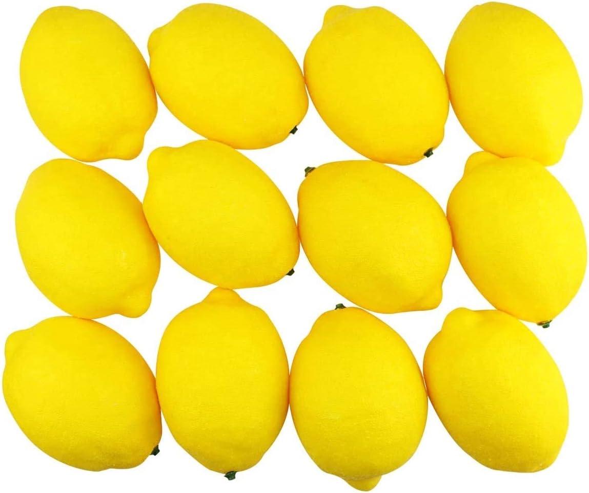 12PCS Fake Yellow Lemons,Fake Fruit,Lifelike Fruit for Home House Kitchen Party Decoration
