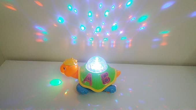 Toyshine Bump and Go Turtle Toy with 3D Lights, Music and Projection (Multicolour