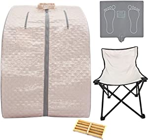 Smartmak Far Infrared Low EMF Sauna, Portable Personal Full Body Detox Weight Loss SPA Tent with Heating Foot Pad Massager and Portable UPGRADE Chair (Pearl Pink)