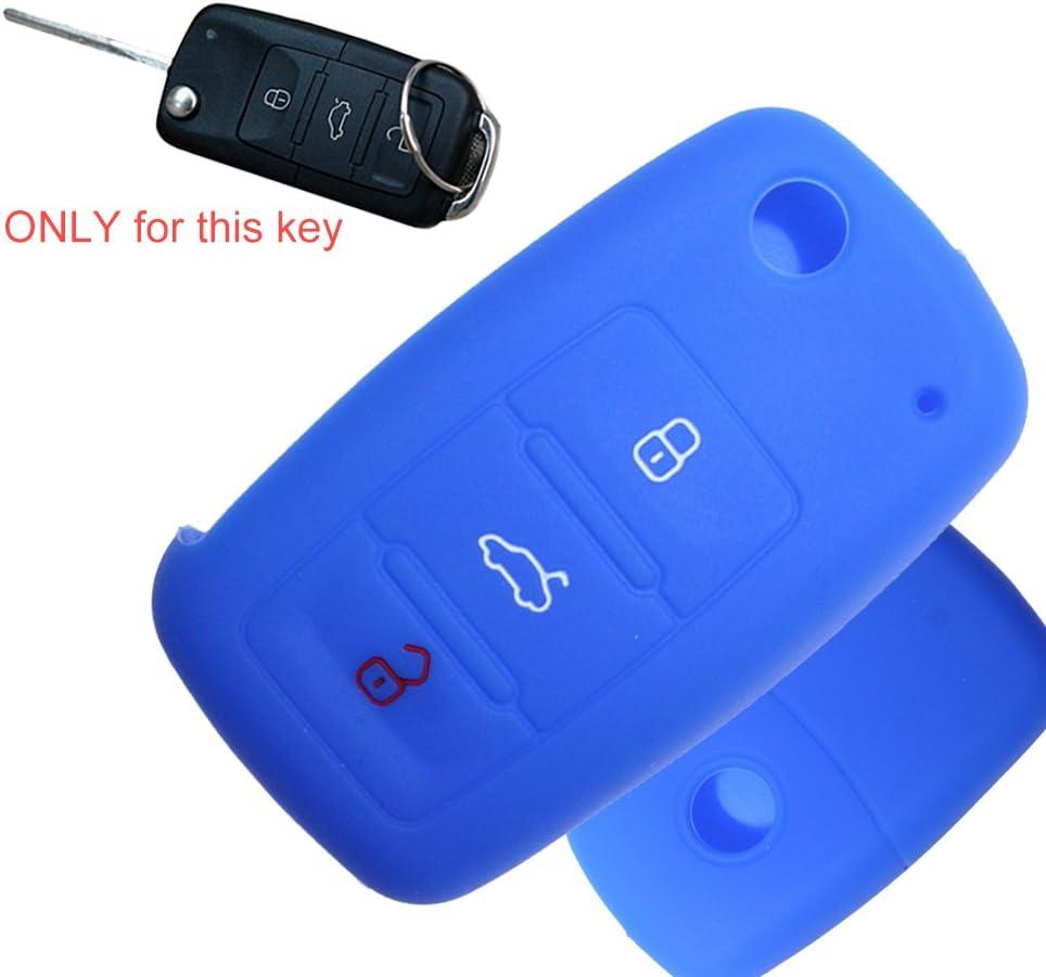 Tuqiang Schlüsselhülle For Skoda Fabia 1pc Blau 3 Elektronik