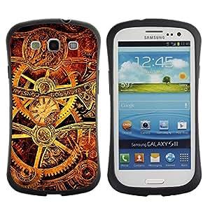 LASTONE PHONE CASE / Suave Silicona Caso Carcasa de Caucho Funda para Samsung Galaxy S3 I9300 / Mechanism Inside Brown Golden Technology