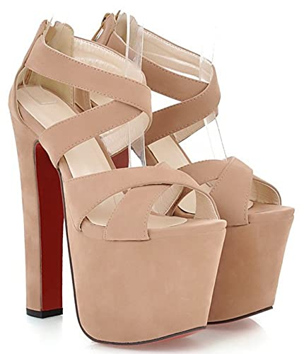 d3e12a57ac51 IDIFU Women s Sexy Extreme High Heels Chunky Zip Up Platform Sandals with  Straps Apricot 4 B