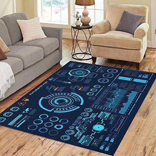 Pinbeam Area Rug Panel Futuristic Virtual Touch User Interface Target Control Home Decor Floor Rug 3