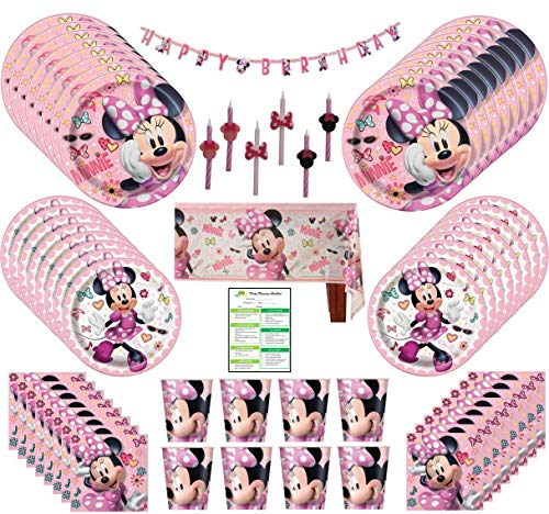 Minnie Mouse Birthday Party Supplies Pack: Big/Small Plates, Cups, Napkins, Table Cover, Banner, Candles - 16 Guests