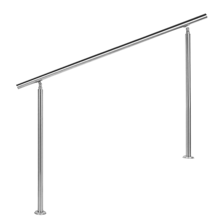 Wiltec Treppengeländer Edelstahl 140cm Brüstung Handlauf Geländer Treppe