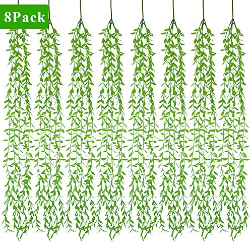 XiaZ Greenery Garland Hanging Plant with Willow Leaf, 8 Pack Artificial Vines with 40 Stems, Faux Greenery Leaves for Table Chairs Backdrops Backyard Indoor Decor ()