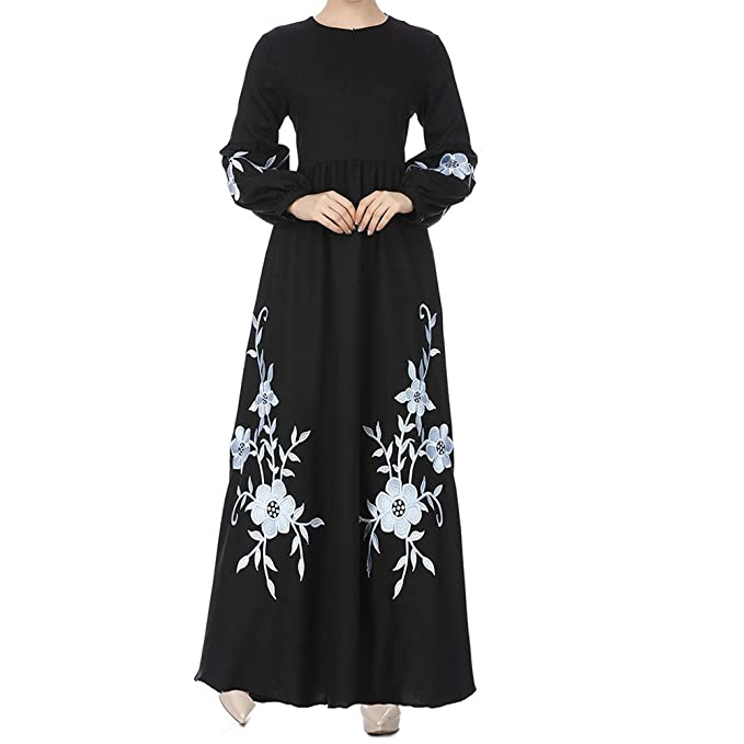 dfe907c2def WYTong Hot Sale! Womens Muslim Chiffon Long Dress Floral Embroidery Long  Sleeve Vintage Tunic Maxi