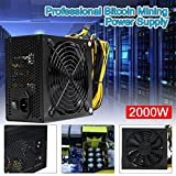 Glumes Power Supply For ETH BTC Ethereum, 2000W ATX Gold Mining Power Supply SATA IDE 8 GPU,Support Up to 8 GPU(Not included) (Black)