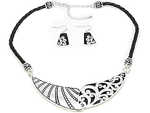 Amazon com: Silver Decorative Scroll Bar Black Cord Bib Collar
