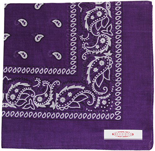 Soophen Paisley One Dozen Cowboy Bandanas (Dark Purple 22 X 22 in , 12-Pack) ()