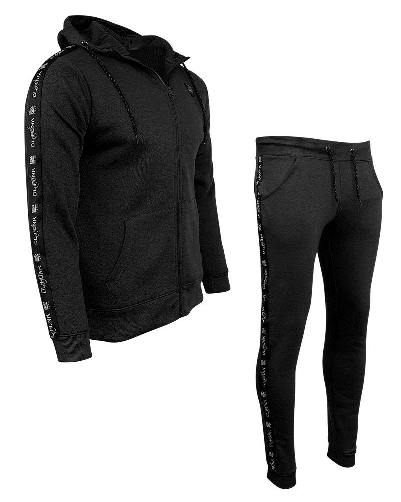 SheLikes Mens DLX Hooded Tracksuit Set Fleece Hoodie Sports Joggers Gym Size UK S-XL