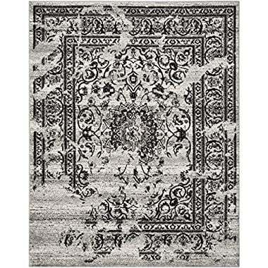 Safavieh Adirondack Collection ADR101A Silver and Black Area Rug, 6 feet by 9 feet (6' x 9')