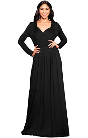 9a74994648f4 KOH KOH Petite Womens Long Sleeve Sleeves Empire Waist Floor-length  Cocktail Elegant Evening Fall