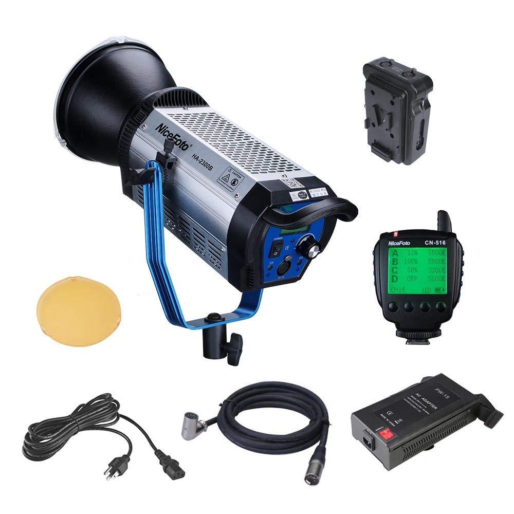 NiceFoto HA-2300B 230W プロな撮影定常光 5500K 25000lux@1m COBライト 専業撮影用 BOWENSマウント 超静音システム YOUTUBE、映画制作などに対応   B07RFQPKSV
