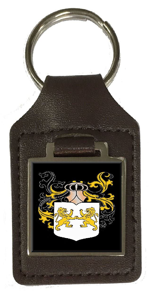 Collins Heraldry Surname Coat Of Arms Brown Leather Keyring Engraved