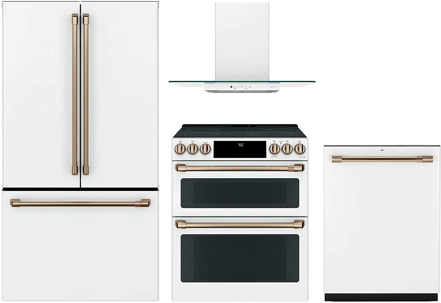 """GE Cafe 4 Piece KitchenPackage CWE23SP4MW2 36""""Smart French Door Refrigerator,CES750P4MW2 30""""Smart Electric Range,CVW73014MWM 30""""Wall Mount Ducted Hood CDT836P4MW2 24""""Built In Dishwasher in Matte White"""