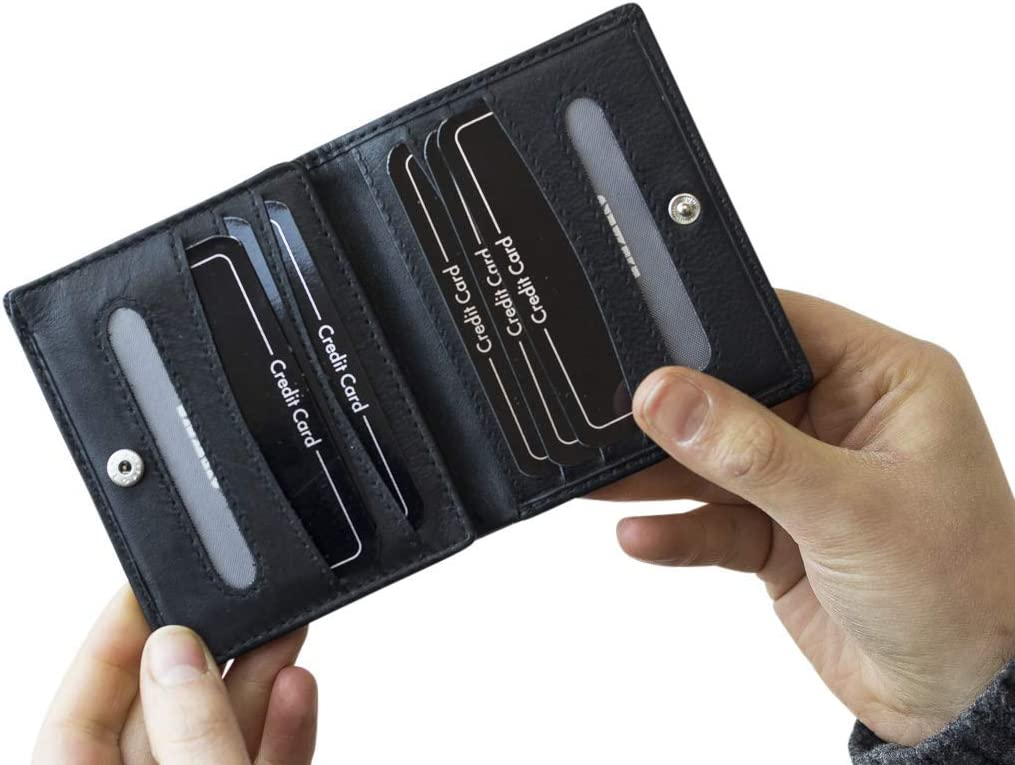 Scheckkartenmappe Echt-Leder LEAS Kreditkartenh/ülle schwarz Card-Collection