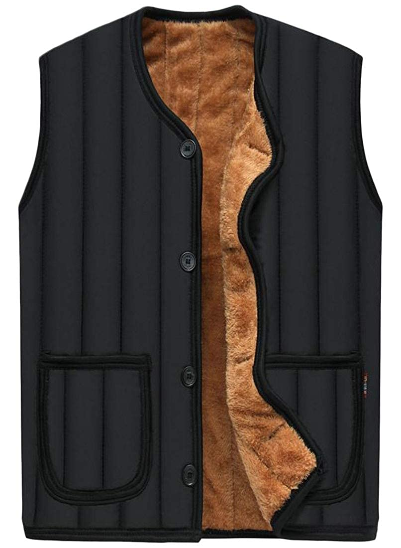 Pandapang Mens Fleece Winter Button-Down Waistcoat Warm Vest Coat Jacket