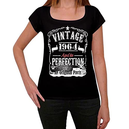 1964 Vintage Aged to Perfection Mujer Camiseta Negro Regalo De Cumpleaños