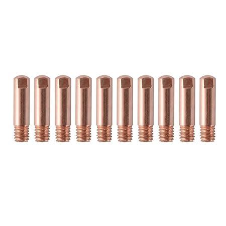 XCSOURCE 17Pcs 15AK MIG/MAG Welding Nozzle Contact Tips 0.8x25mm M6 Gas Connector Holder Set (10x Contact Tips, 4x Nozzle, 2x Connector, 1x Plate) HS1114 ...
