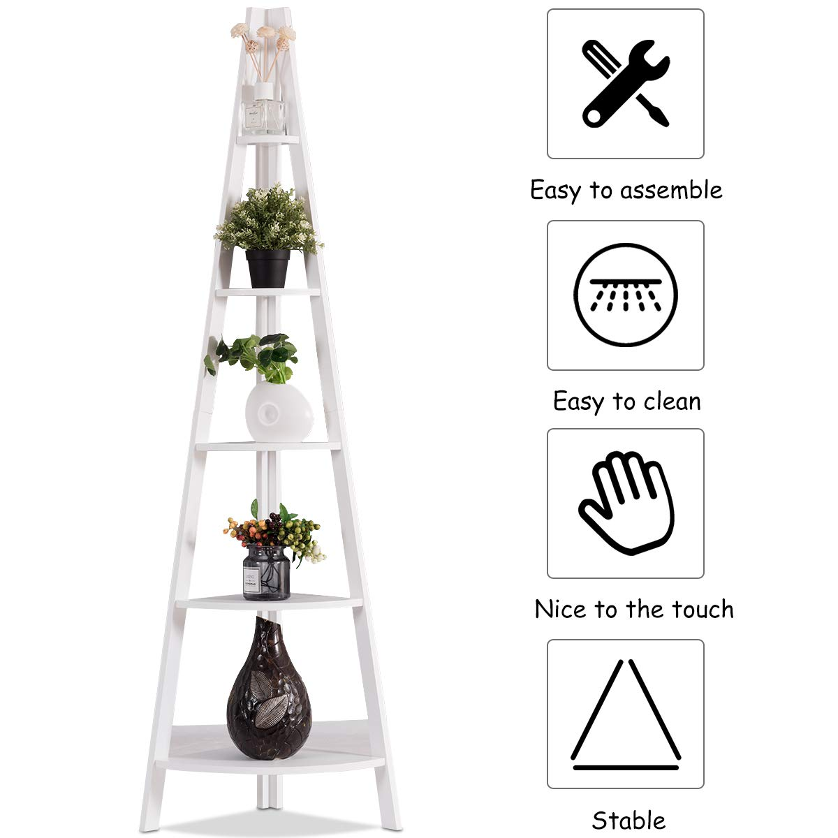 Bookcase for Display Wooden Contemporary Rustic Style Bookshelf Tangkula 5-Tier Corner Ladder Shelf Storage Rack A-Shaped Durable Frame Plant Stand Storage in Home Office Living Room Bedroom